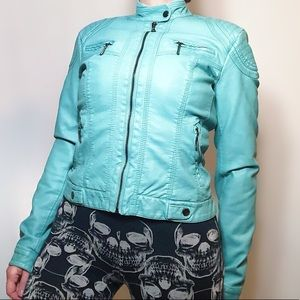 Suzy Shier faux leather teal fitted moto jacket